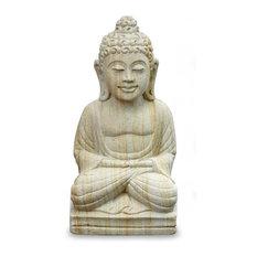 Handmade Buddha Serene I Sandstone statuette - Indonesia