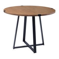 40-inch Round Metal Wrap Dining Table - English Oak / Black