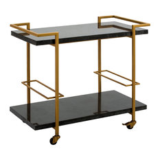 Art Deco Gold Metal Bar Car With Black Granite Shelves