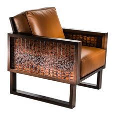 Twist Modern Leather Croc Lounge Chair