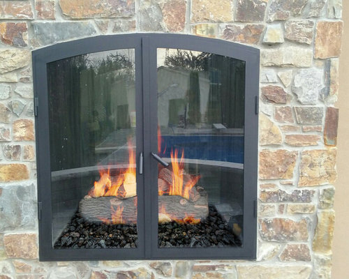 indoor outdoor see through wood burning fireplaces rh houzz com indoor outdoor wood burning fireplace canada indoor outdoor see-thru wood burning fireplace