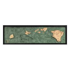 Hawaiian Islands 3-D Nautical Wood Chart