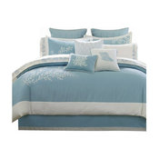 Harbor House Jacquard Comforter Set With Embroidery, Blue