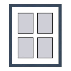 Blue Shaker Collage Picture Frame - 4 openings for 4X6 photos