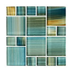 "12""x12"" Glass Tile Blends Watercolors Series, Aqua"