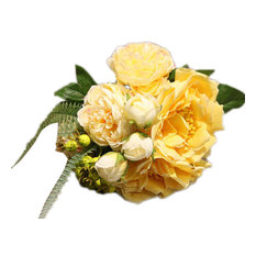 For Home Decor Artificial Fake Peony and Roses Bouquet, Yellow