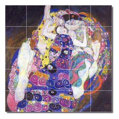 "Gustave Klimt Abstract Painting Ceramic Tile Mural #24, 40""x40"""