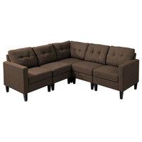 5-Piece Niya Mid Century Modern Fabric Sectional Sofa, Dark Brown