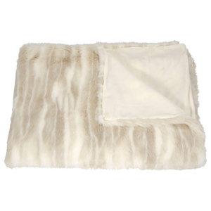 Mina Victory Throw Faux Fur Throw Beige Throw Blanket