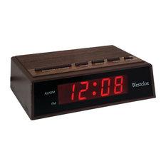 """Westclox - Westclox .6"""" Retro Wood Grain LED Alarm Clock - Alarm Clocks"""
