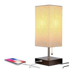 Brightech Grace USB, LED Desk & Bedside Table Lamp, Havanah Brown
