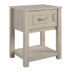 Traditional Nightstand Storage Drawer With Silver Handle Light Walnut