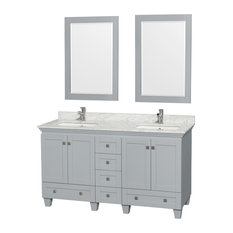 """Acclaim 60"""" Double Vanity, Oyster Gray, White Carrera Marble Top, Square Sinks"""