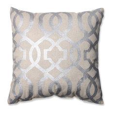 pillow perfect inc geometric throw pillow silver and linen decorative pillows - Decorative Pillows