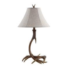 "Antler 27.5"" Rustic Resin LED Table Lamp, Brown"