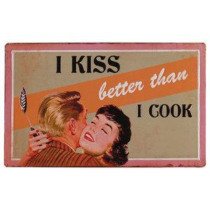 """I Kiss Better Than I Cook"" Wall Decor, 38x23 cm"
