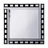Thick and Thin Square Mirror With Rectangular Tiles, Black and Silver