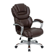 flash furniture high back brown leather executive office chair with leather padded loop arms brown leather office chairs