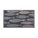 """Fish Rubber Pin Mat, Copper Hand Finished, Heavy Duty Doormat, 18""""x30"""""""