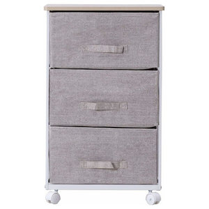 Modern Storage Cabinet Cart, White Steel Frame, Grey Linen Fabric Drawers, Small