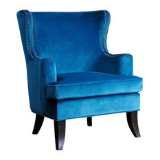 Abbyson Living Lauren Fabric Nailhead Trim Armchair, Blue