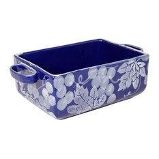 Feba Italia - Chianti Deep Rectangular Ceramic Baking Dish, Blue and White - Baking Dishes