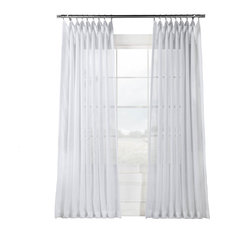 "Signature Double Wide White Sheer Curtain Single Panel, 100""x96"""