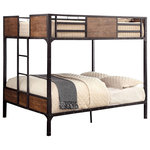 Sleep and Play USA - South Bank Bunk Bed, Full Over Full - Create a utilitarian lifestyle with our industrial South Bank Full over Full Bunk Bed. It features a beautiful blend of sturdy metal with distressed wood panels and nailhead accents which will bring both cold and warm elements to your room. It is available in 4 different sizes to ensure the perfect fit for all of your sleeping needs. Includes: top and bottom beds, 2 full length guardrails, attached built in end ladder, and mattress supports. Available in Twin over Twin, Twin over Full, Full over Full and Twin over Futon.