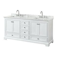 "Deborah 72"" White Double Vanity, Carrara Marble Top, Um Sinks, No Mirror"
