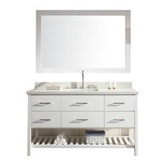 "ARIEL Shakespeare 61"" Single Sink Bathroom Vanity Set in White"
