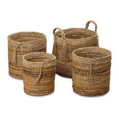 Whole House Worlds - The Boho Beach House Tassel Baskets, Set of 4 - Baskets