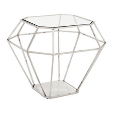 Great Adler Hollywood Nickel Frame Diamond Shape Glass Side Table   Side Tables  And End Tables