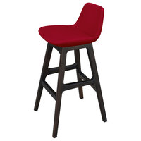 Pera Wood Counter And Bar Stool, Solid Beech Wenge Color Base, Red Wool