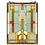 CHLOE Lighting - CHLOE Lighting JOASH Tiffany-Style Geometric Stained Glass Window Panel - Joash, is an awesomely designed geometric style stained glass window panel, featuring vibrant colors of red, blue, brown and yellow. This piece would fit in wonderfully in virtually any window in your home! The hand crafted Tiffany panel is made up of 115 pieces of hand cut, stained art glass, all expertly pieced and soldered together, to create each panel. Each of CHLOE's Tiffany-style stained glass panels are formed using the very same techninique developed by Louis Comfort Tiffany in the early 1900's, using hand cut stained art glass, each wrapped in fine copper foil and soldered together at extremely high temperatures to form each unique panels. Exact size to the nearest inch may vary, and exact color of each glass piece may vary due to each piece being hand crafted. First image is with the light shining through, second image is with no light.