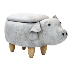 "15"" Seat Height Animal Shape Storage Ottoman Furniture Light Gray Pig"