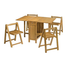 Compact Dining Set, Wood With Table and 4 Chairs, Light Oak