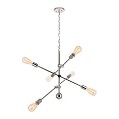 "29"" Tristan 6-Light Pendant With Glass, Polished Nickel"