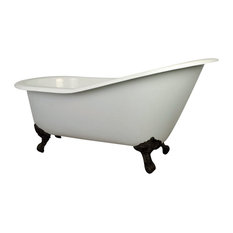 "Aqua Eden 61"" Cast Iron Clawfoot Tub With 7"" Faucet Drillings, Oil Rubbed Bronze"
