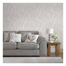 Innocence Charcoal/Silver Wallpaper, Mushroom, 20x396