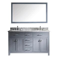 """Caroline 60"""" Double Bathroom Vanity Set White, Marble Countertop"""