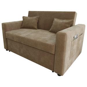 Ravena Chenille Fabric Sofa Bed, Taupe