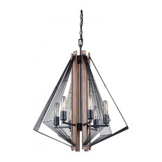 Vaxcel H0182 Dearborn Up Light Chandelier, Black Iron with Burnished Oak