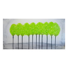 Green Tree Painting, Black and White Contemporary Art