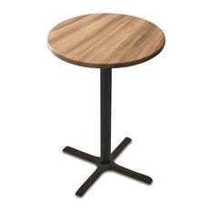 "OD211 Black Table with 30"" Diameter Indoor/Outdoor Natural Top, 30"""