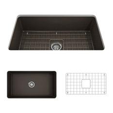 """Bocchi - Sanikey USA Inc - Sotto Undermount Kitchen Sink With Grid and Strainer, Matte Brown, 32"""" - Kitchen Sinks"""