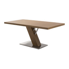 Fusion Contemporary Dining Table, Walnut Wood Top and Stainless Steel