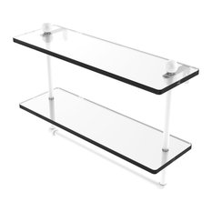 """16"""" Two Tiered Glass Shelf with Integrated Towel Bar, Matte White"""