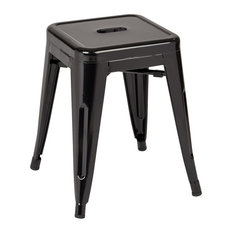 Patterson Metal Backless Stool, Black Solid, Set of 4