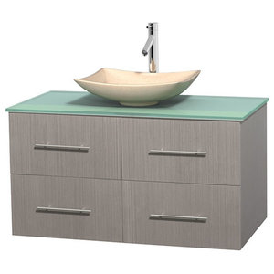 "Centra 42"" Gray Oak Single Vanity, Green Glass Top, Arista Ivory Marble Sink"