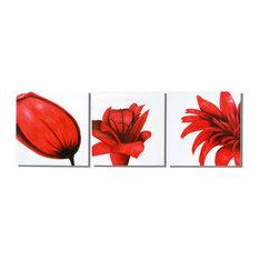 """Red Flower Trilogy Canvas Wall Art, 20""""x60"""", 3 Piece Set"""